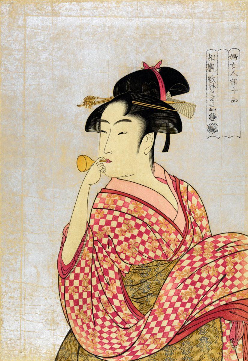 Женщина дует Попин. Утамаро Китагава