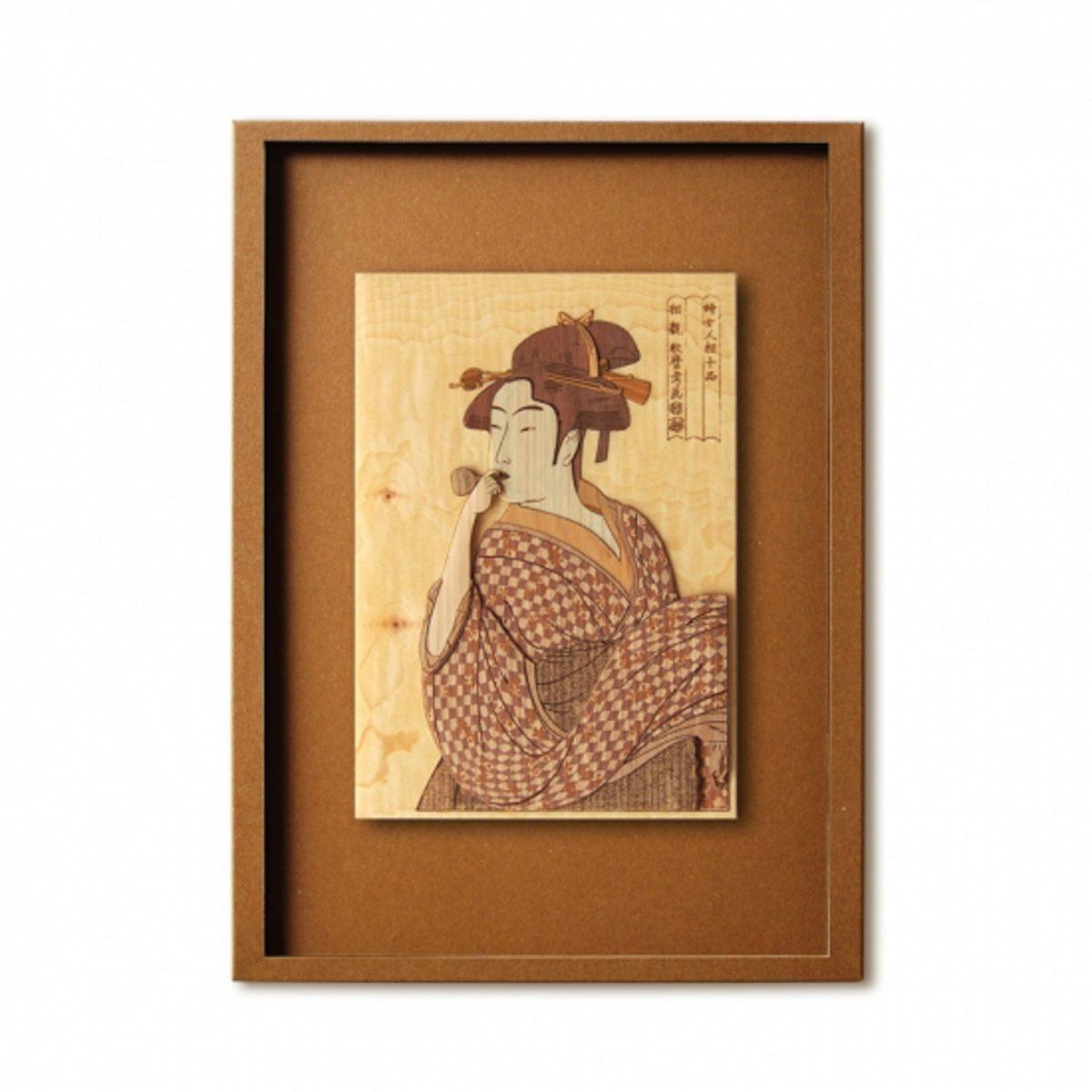 Набор Кихари «Девушка дует в свисток», гравюра